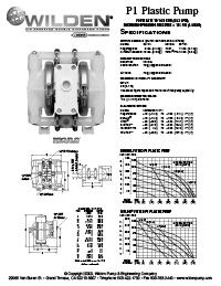 Folha de especificações de plástico Wilden P1
