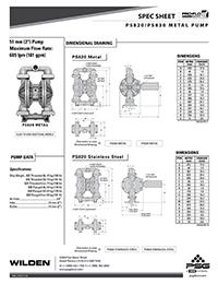 Folha de especificações metálicas Wilden PS820 / 830 (WIL-11510-T)