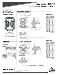 Folha de especificações metálicas Wilden PS1520 / 1530 (WIL-11520-T)