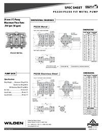 Folha de especificações de metal Wilden PS220 / 230