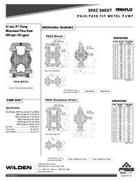 Folha de especificações de metal Wilden P820 / 830